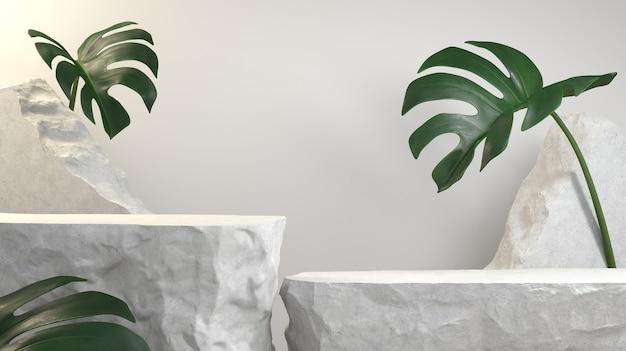 3d render white stone podium for product display, debris stone slabs