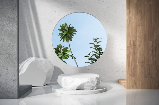 3d render white stone podiums with circle window with palm trees
