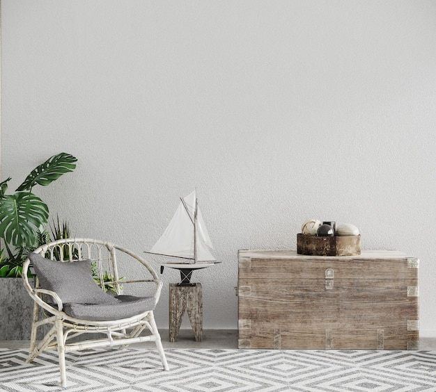 3d render of white wall room with a chair and plants and decor