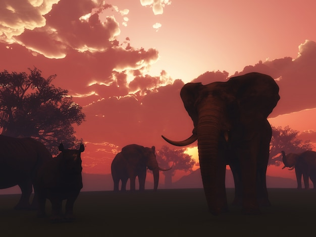 3d render of wild animals in a sunset landscape