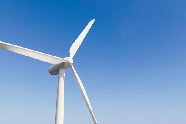3d 렌더링 바람 터빈 푸른 하늘 배경에 가까이 프리미엄 사진