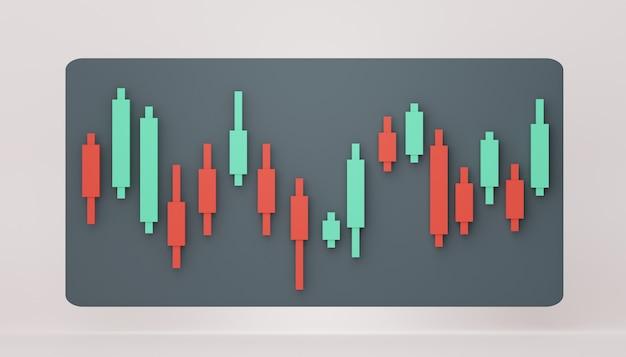 주식 거래 그래프의 3d 렌더링 창 현서 마케팅 디자인 장면