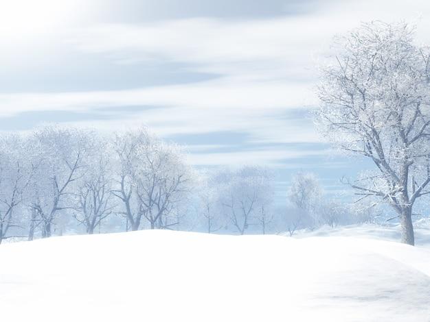 Rendering 3d di un paesaggio invernale innevato