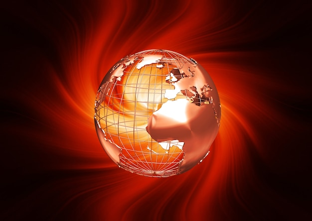 3d render of a wireframe globe on fiery