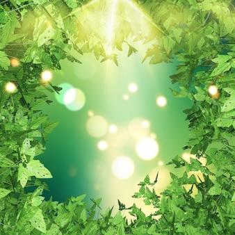 3dはボケライトの背景に緑の葉の境界線でレンダリング