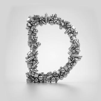 3d визуализации с металлической серебряной буквой d на светло-сером фоне на основе частиц, которые основаны на различных простых формах, как сфера цилиндрический куб и минусы