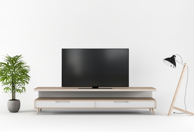3d-рендеринг с телевизором, шкафом, украшением в студии