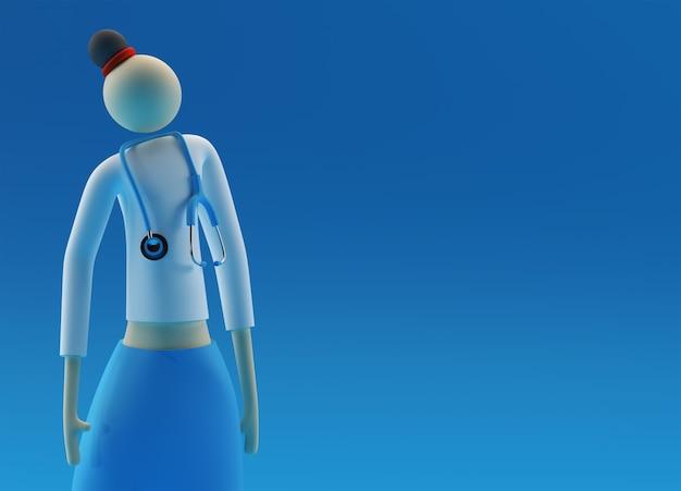 3dレンダリングの女性医師は、色の背景に眼鏡聴診器を着用します。