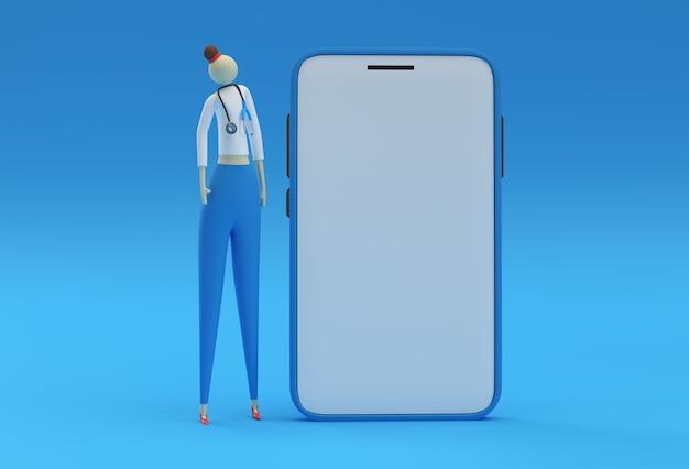 3dレンダリング女性医師は青い背景にモバイルモックアップで聴診器を着用します。
