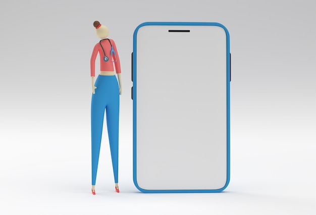 3d render woman doctor wear stethoscope with mobile mockup on a white background.