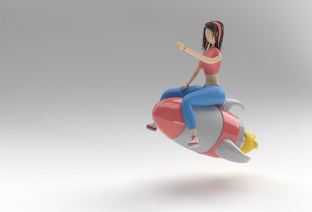 3d render woman flying with rocket 3d illustration design.