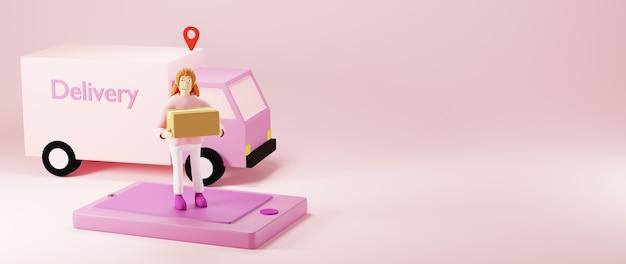 スマートフォンと淡いピンクの背景でisoalted配達バンの上にボックスを保持している3dレンダリングの女性
