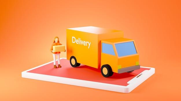 オレンジ色の背景で隔離のスマートフォンのオレンジ色の配達用バンの横にあるボックスを保持している3dレンダリング