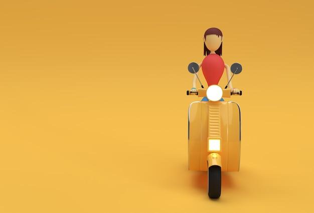 노란색 배경에 모터 스쿠터 측면 보기를 타고 3d 렌더링 여자.