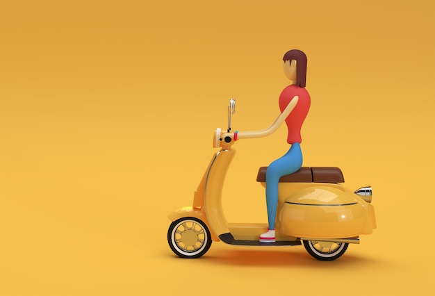 3d render woman riding motor scooter side view on a yellow background.