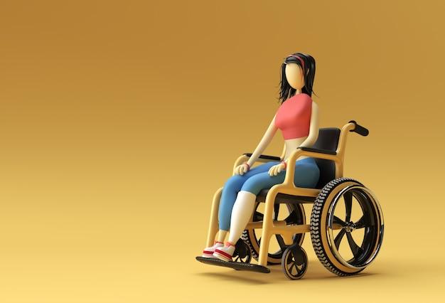 3d render woman sitting on wheelchair 3d illustration design.