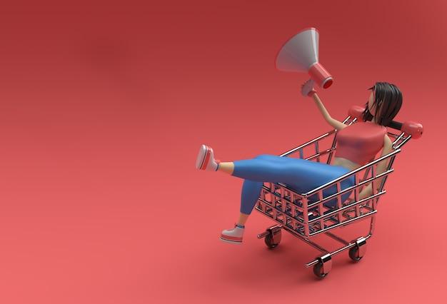 メガホンショッピングカートアイコンイラストデザインの3dレンダリング女性。