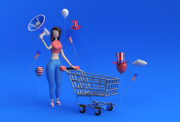3d render woman with shopping cart announce mega sale offer usa independence day 4th of july holiday