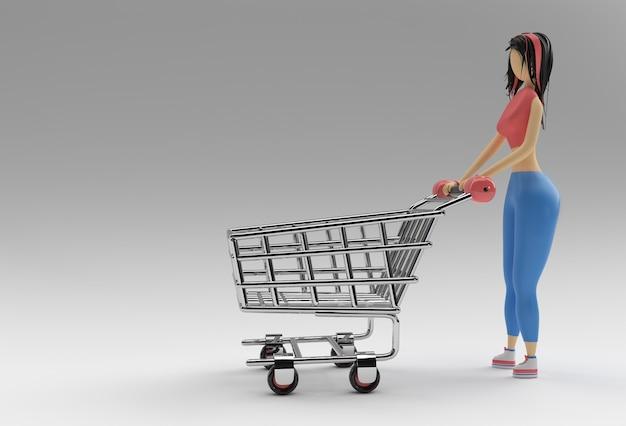 ショッピングカートアイコンイラストデザインの3dレンダリング女性。
