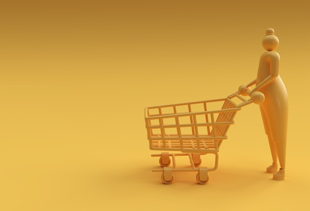 3d render woman with shopping cart icon illustration design.