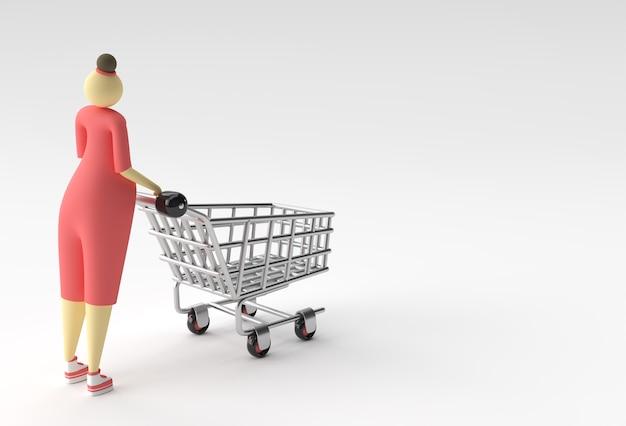 쇼핑 카트 아이콘 일러스트 디자인으로 3d 렌더링 여자.