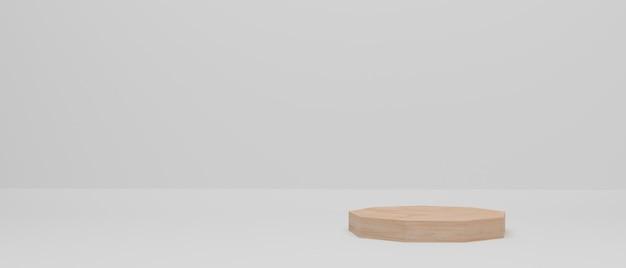 3d визуализация. деревянный подиум. абстрактная минимальная сцена с геометрической формой