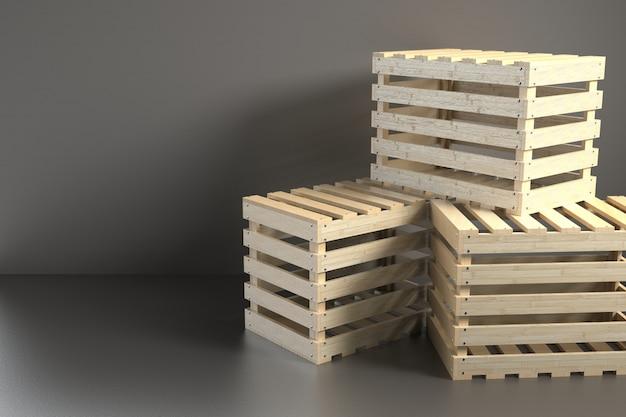 3d render wooden box background