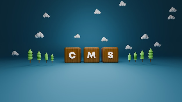 3d render of wooden cms block text on blue