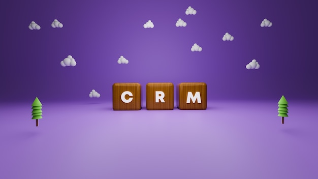 3d render of wooden style crm block text on purple