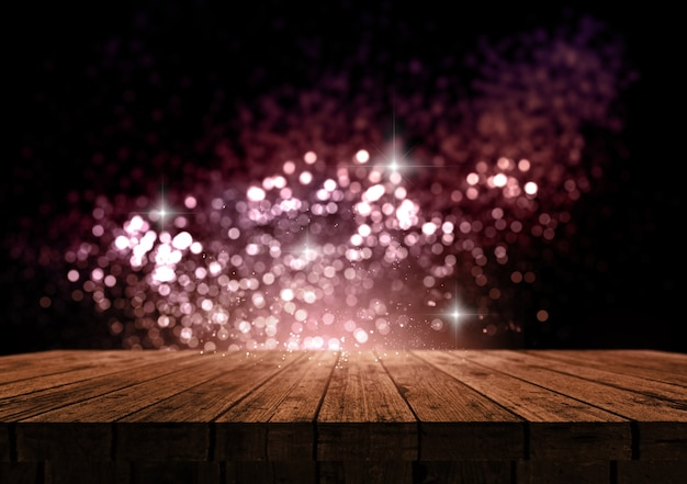 3d render of a wooden table against a sparkle bokeh lights background
