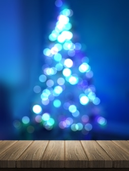 3d render of wooden table looking out to a defocussed christmas tree