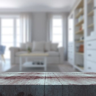 Rendering 3d di un tavolo in legno che si affaccia su un interno defocussato del salotto