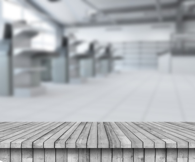 3d render of a wooden table looking out to an empty supermarket