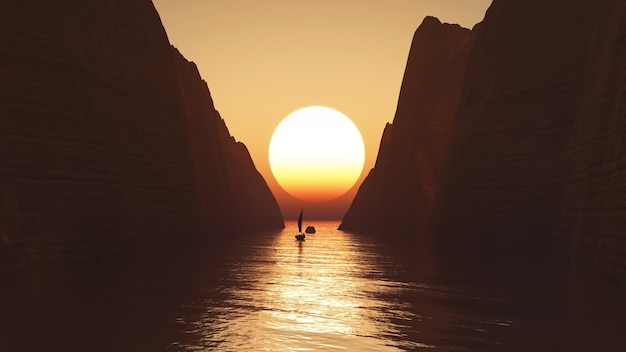 3d render of a yacht sailing towards a sunset sky