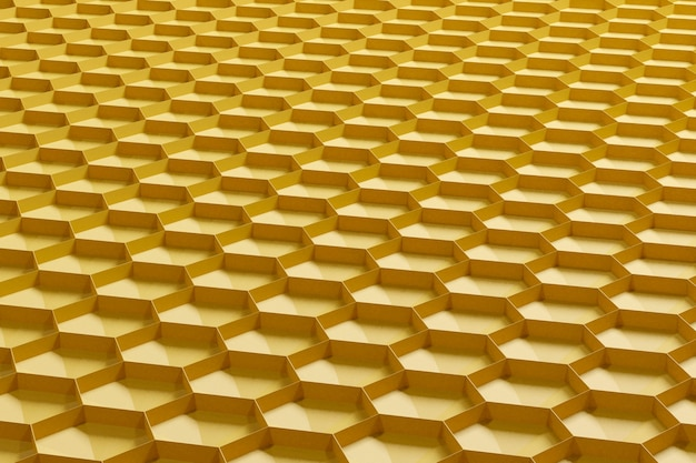 3d render yellow abstract background in the form of honeycombs. side view.