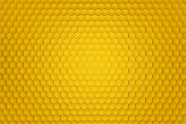 3d render yellow abstract background in the form of honeycombs. view from above.