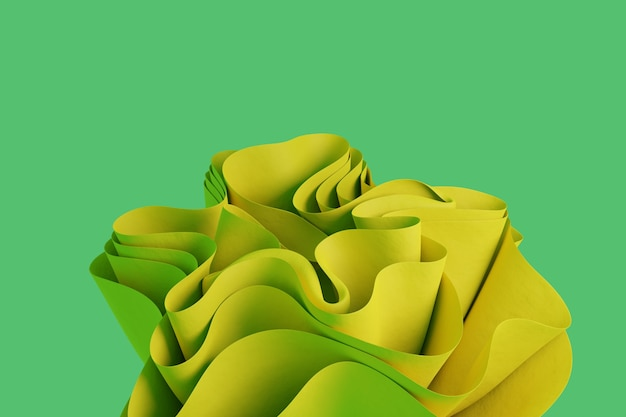 3d render a yellow abstract wavy form on a green background wallpaper with 3d objects
