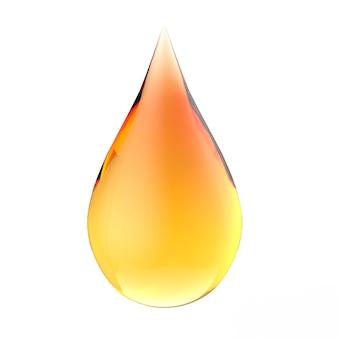 黄色とオレンジ色のグラデーションの液滴を白い背景で隔離の3dレンダリング