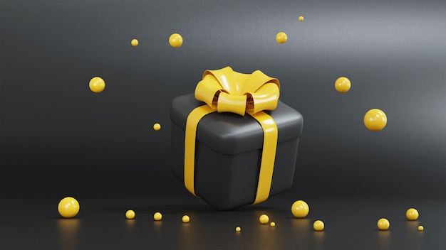 3d render of yellow and black gift box for christmas