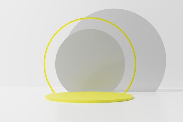 단색 배경에 네온 반지와 회색 동그라미와 노란색 라운드 연단 3d 렌더링