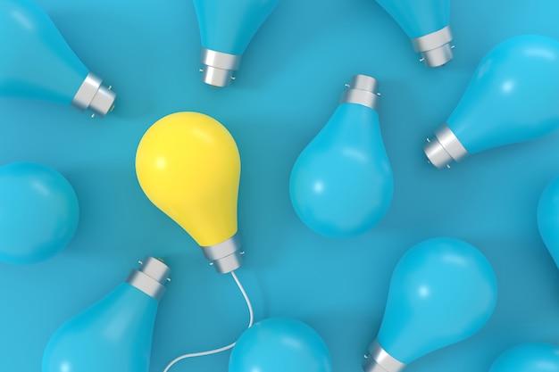 3d render of yellow lightbulb among blue lightbulbs on blue background