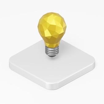 白い背景に分離された白い四角ボタン キーの 3 d レンダリング黄色い電球アイコン