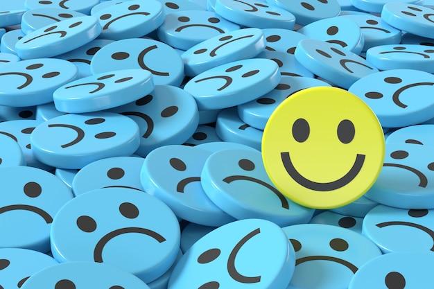 青い悲しい顔の背景の中で3dレンダリング黄色のスマイリーフェイス
