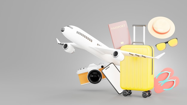 3d render of yellow suitcase with travel accessories of tourism concept