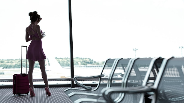 3d render young woman in international airport