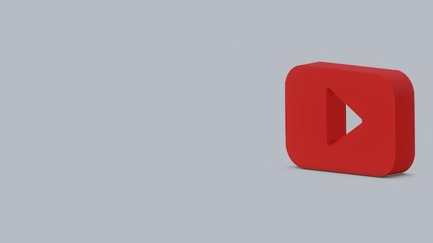 3d визуализация логотипа youtube на сером фоне баннера с копией пространства
