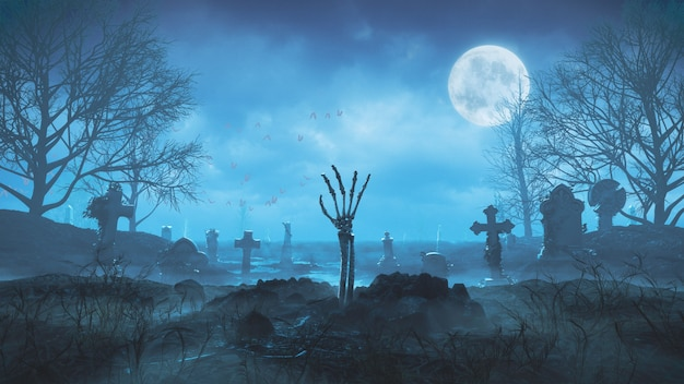 3d render zombie hand crawls out of the ground at night against the background of the moon in the cemetery