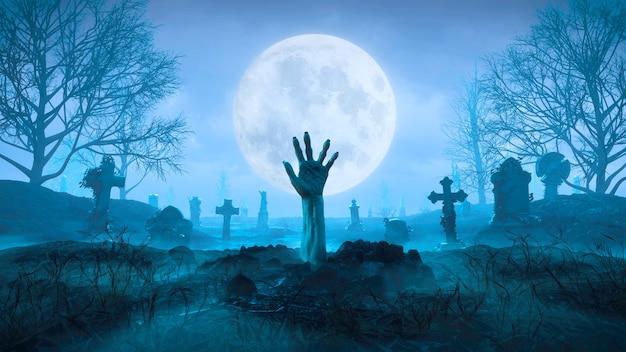 3d визуализация рука зомби вылезает из-под земли ночью на фоне луны на кладбище