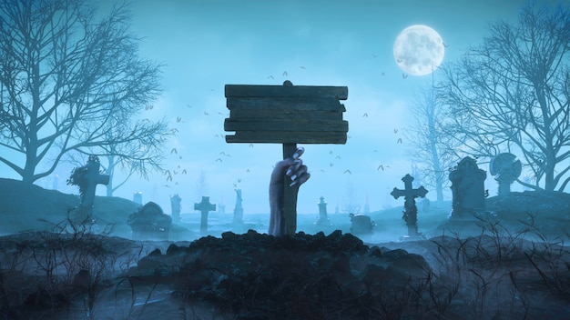3d render zombie hand with a wooden plaque out of the ground at night against the background of the moon in the cemetery