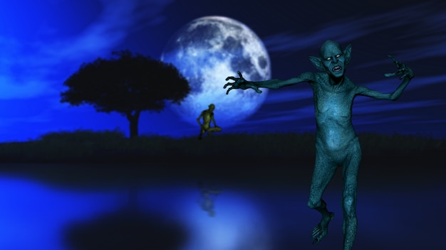 3d render of a zombie with tree silhouetted against a moonlit sky